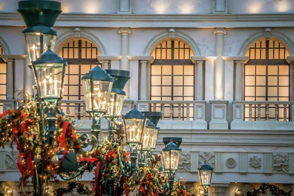 Christmass Photograph - Beautiful Indoor Christmas Decorations Around Venetian Palazzo F by Alex Grichenko