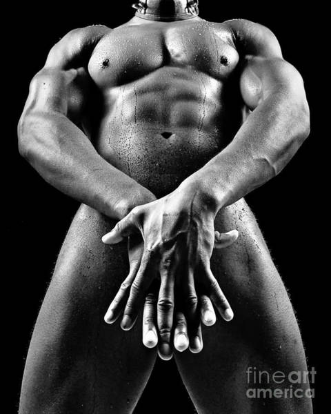 Photograph - Beautiful Man Nude Or Naked With Great Sexy Body. Image In Black And White by William Langeveld