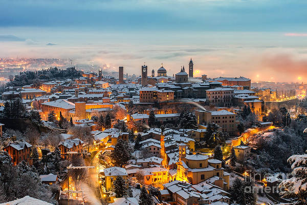 Beautiful Medieval Town At Sunrise Art Print