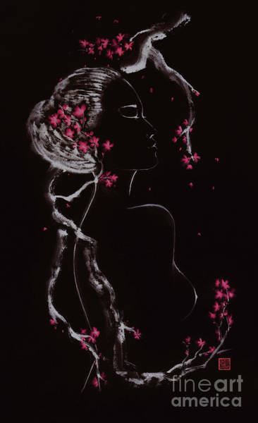 Blooming Tree Mixed Media - Beautiful Nude Asian Woman Embraced By The Blooming Sakura Branc by Awen Fine Art Prints