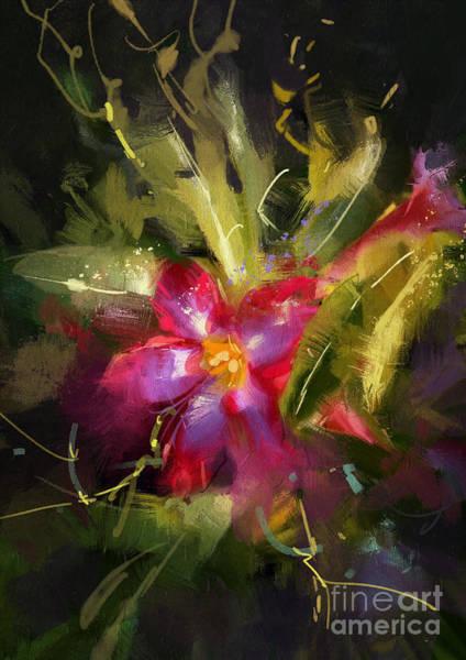 Wall Art - Digital Art - Beautiful Painting Of Desert Rose by Tithi Luadthong