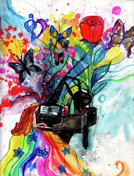 Grand Piano Painting - Beautiful Piano Player Color Splash With Butterflies by Genevieve Esson