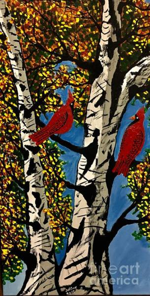 Wall Art - Painting - Beautiful Red Cardinals by Jeffrey Koss