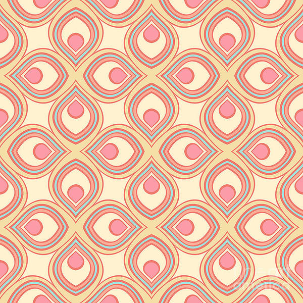 Wall Art - Digital Art - Beautiful Retro Geometric Pattern With by Melazerg