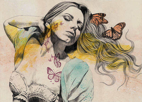 Sexy Lady Drawing - Beautiful Ruin - Sexy Butterfly Girl In Lingerie by Marco Paludet