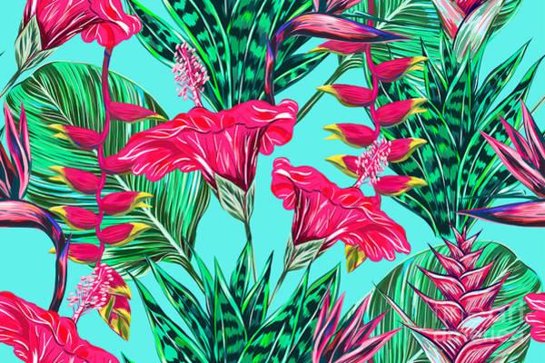 Blue Hawaii Wall Art - Digital Art - Beautiful Seamless Vector Floral by Nataliako