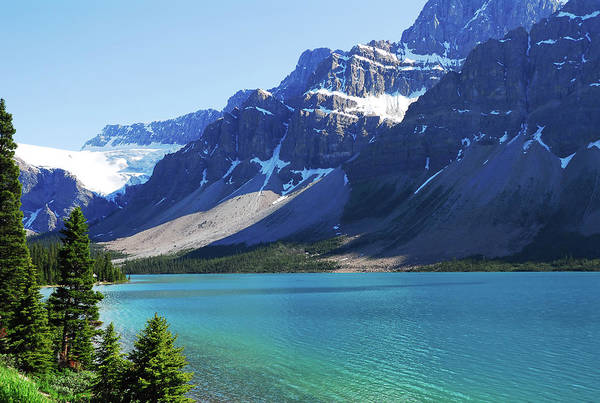 Bow River Wall Art - Photograph - Beautiful, Serene Bow Lake Beside Snow by Brytta