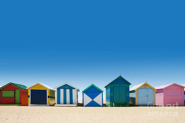 Vibrant Color Wall Art - Photograph - Beautiful Small Bathing Houses On White by Creativa Images