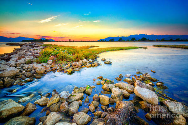 Wall Art - Photograph - Beautiful Summer Sunset Over The Rocky by Nomadfra