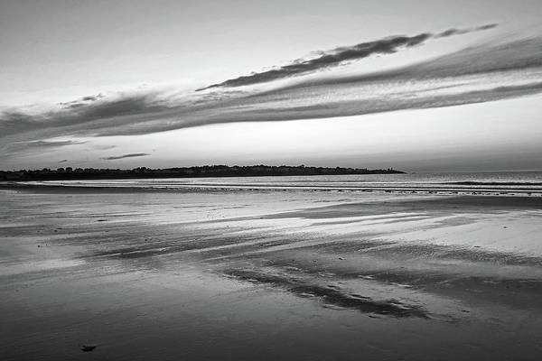 Photograph - Beautiful Sunrise Over Long Sands Beach York Maine Long Beach Reflection Black And White by Toby McGuire