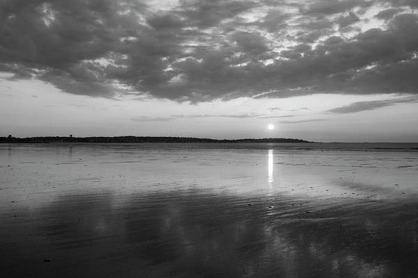 Photograph - Beautiful Sunrise Over Nahant Beach Reflection Nahant Ma Black And White by Toby McGuire