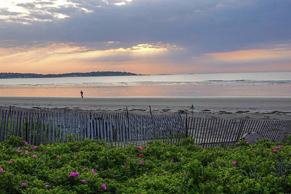 Photograph - Beautiful Sunrise Over Nahant Beach Reflection Nahant Ma Fence by Toby McGuire