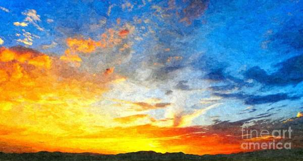 Beautiful Sunset In Landscape In Nature With Warm Sky, Digital A Art Print