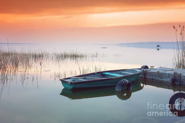 Rowboat Wall Art - Photograph - Beautiful Sunset On Lake Balaton With by Leicheroliver