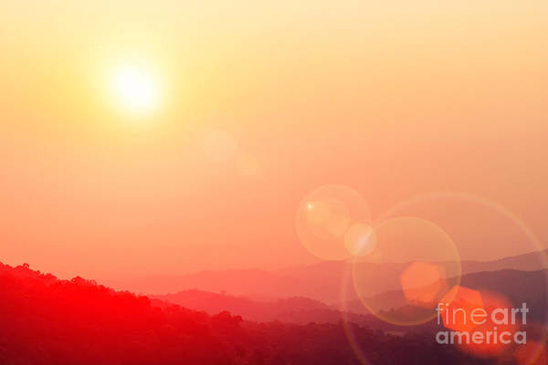 Wall Art - Photograph - Beautiful Sunset Sky With Flare At by Twstock