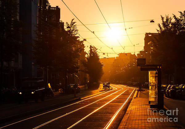 Tram Wall Art - Photograph - Beautiful Urban Sunrise In The City Of by Dennis Van De Water