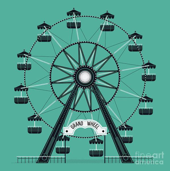 Festive Wall Art - Digital Art - Beautiful Vector Ferris Observation by Mascha Tace
