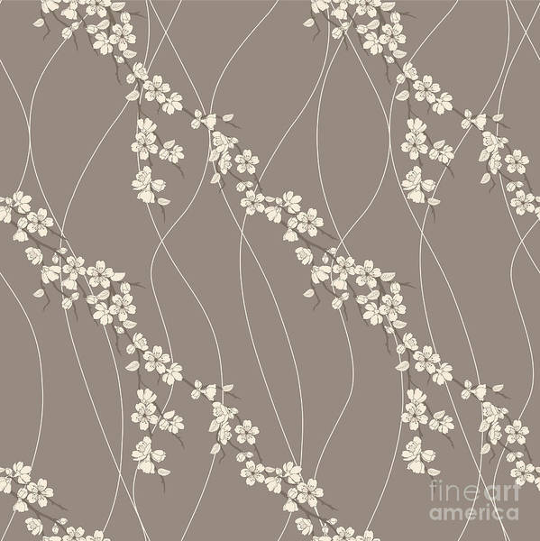 Wall Art - Digital Art - Beautiful Vector Seamless Pattern With by Amirage
