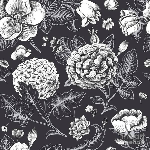 Wall Art - Digital Art - Beautiful Vintage Floral Seamless by Olga Korneeva