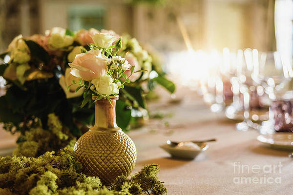 Photograph - Beautiful Vintage Vases With Roses As Centerpieces Of Decorating Tables Of A Wedding. by Joaquin Corbalan