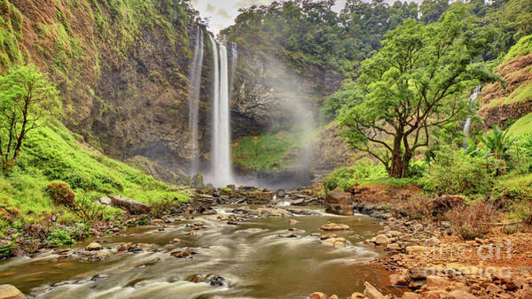 Wall Art - Photograph - Beautiful Waterfall Hidden In The Tropical Jungles Panorama View by MotHaiBaPhoto Prints