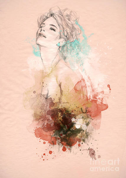 Fitness Digital Art - Beautiful Woman . Hand Painted Fashion by Anna Ismagilova