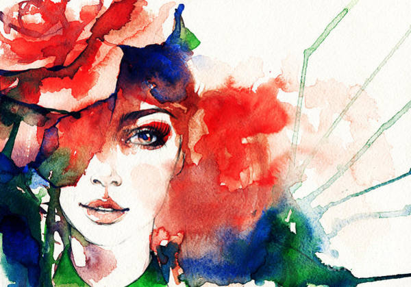 Fitness Digital Art - Beautiful Woman Face. Watercolor by Anna Ismagilova