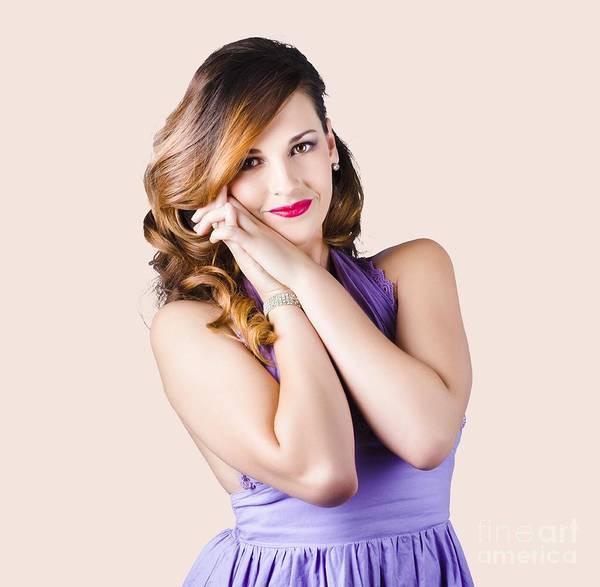 Modeling Photograph - Beautiful Woman In Purple Dress by Jorgo Photography - Wall Art Gallery