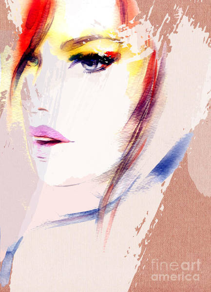 Wall Art - Digital Art - Beautiful Woman Portrait. Abstract by Anna Ismagilova