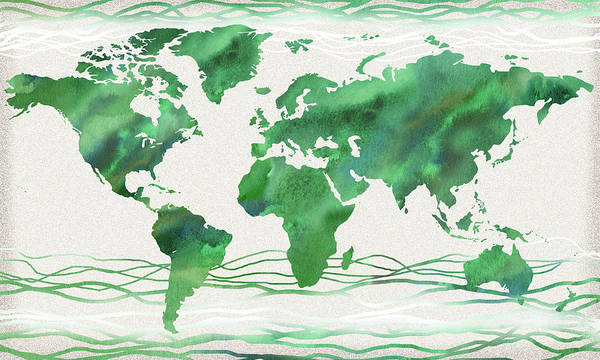 Wall Art - Painting - Beautiful World In Fresh Green Watercolor by Irina Sztukowski