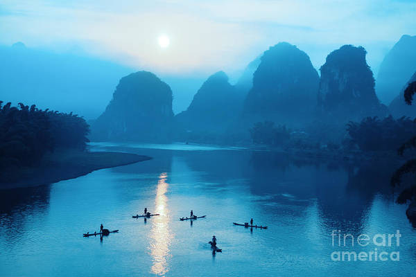 Raft Wall Art - Photograph - Beautiful Yangshuo Scenery In by Chuyuss