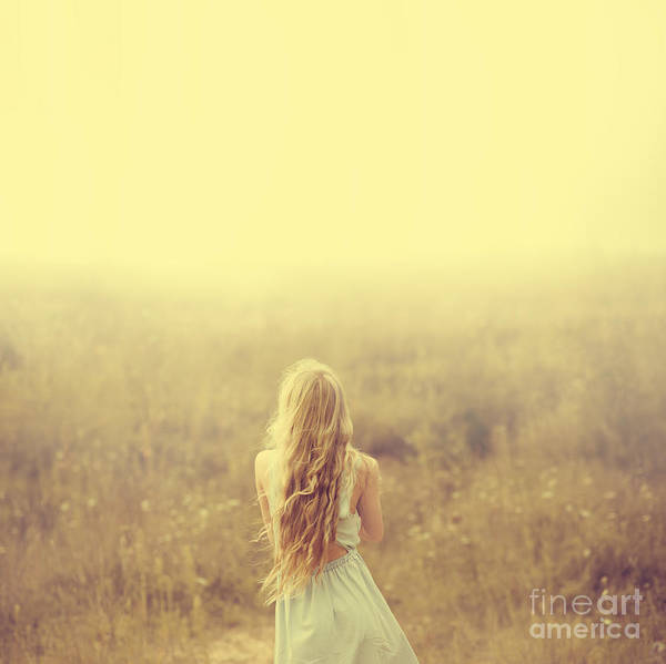 Lovely Wall Art - Photograph - Beautiful Young Blond Woman Enjoying by Aleshyn andrei
