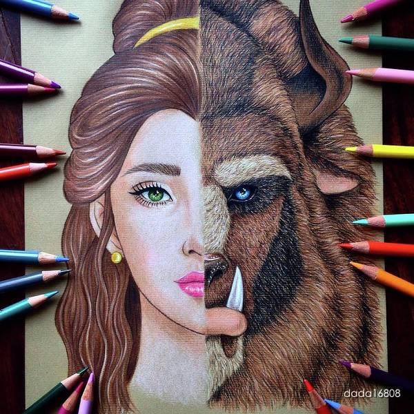 Wall Art - Drawing - Beauty And The Beast by Amanda Lee - dada