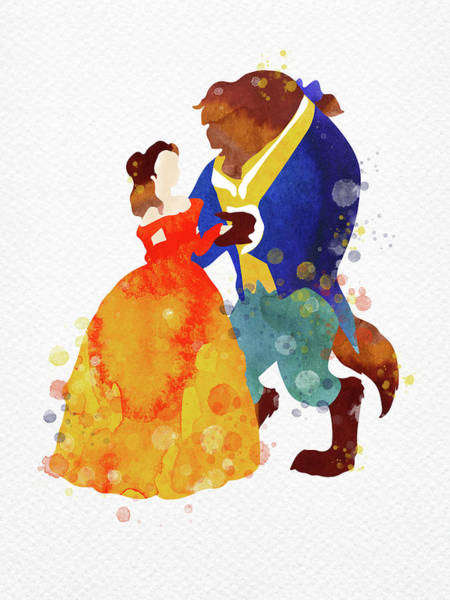 Pure Love Wall Art - Digital Art - Beauty And The Beast Watercolor by Mihaela Pater
