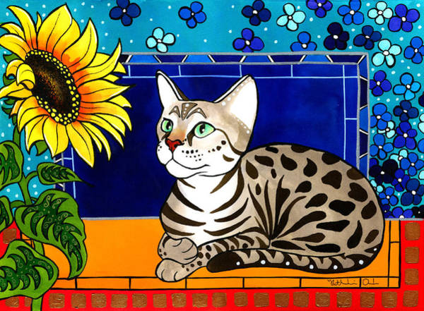 Painting - Beauty In Bloom - Savannah Cat Painting by Dora Hathazi Mendes