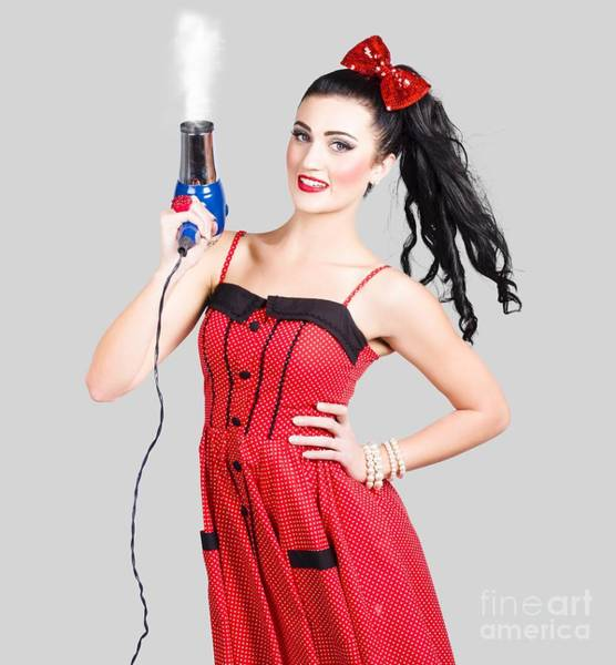 Photograph - Beauty Style Portrait Of A Elegant Hairdryer Woman by Jorgo Photography - Wall Art Gallery
