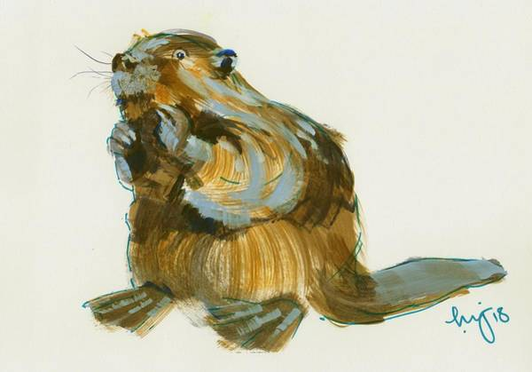 Painting - Beaver Painting by Mike Jory