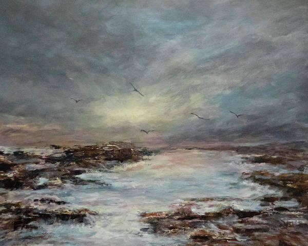 Painting - Beavertail State Park At Sunset by Michele A Loftus