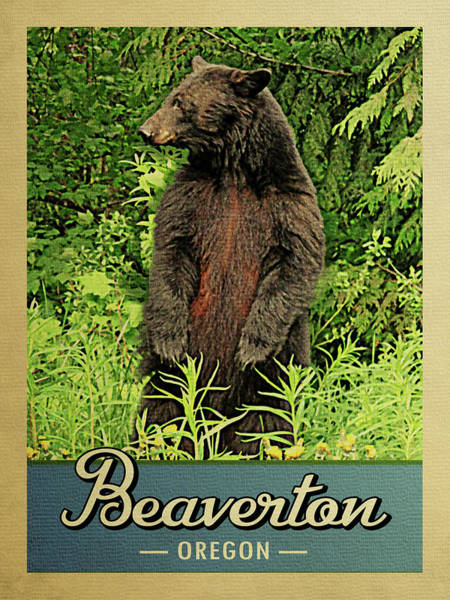 Oregon Wildlife Wall Art - Digital Art - Beaverton Oregon Vintage Bear by Flo Karp