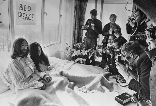 John Lennon Photograph - Bed Peace by Central Press