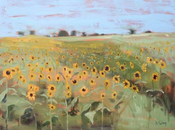 Painting - Bedford County Sunflower Field by Donna Tuten