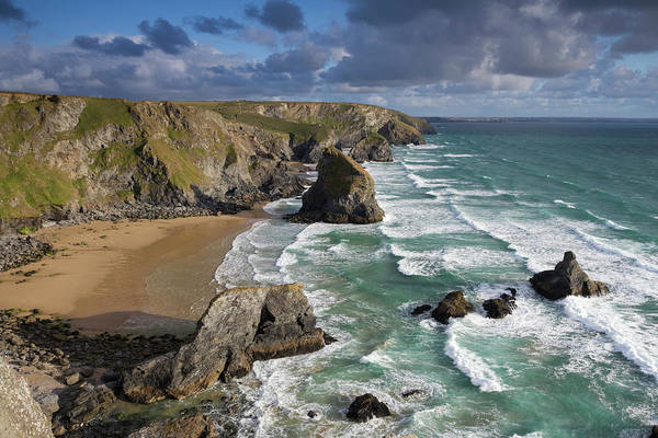 High Water Mark Photograph - Bedruthan Steps by By Mark George