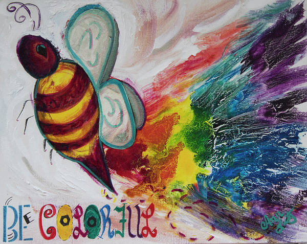 Wall Art - Painting - Bee Colorful by Ann Lutz