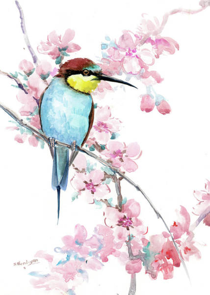 Wall Art - Painting - Bee Eater Adn Spring Blossom by Suren Nersisyan