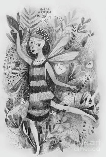 Flappers Drawing - Bee Girl In Black And White by Kate Cosgrove