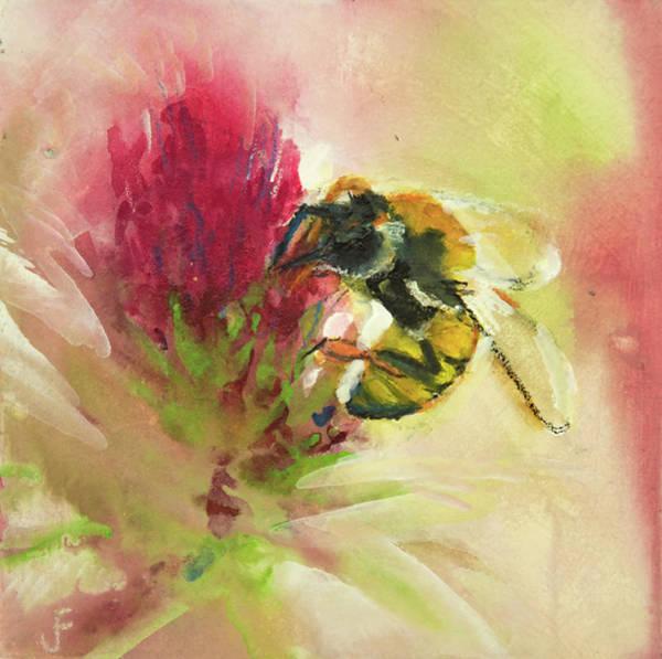 Bee On Clover Art Print