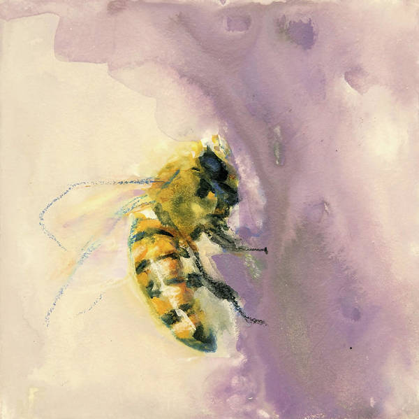 Painting - Bee On Lavender by Jani Freimann