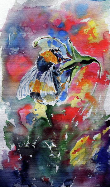 Wall Art - Painting - Bee With Floral by Kovacs Anna Brigitta