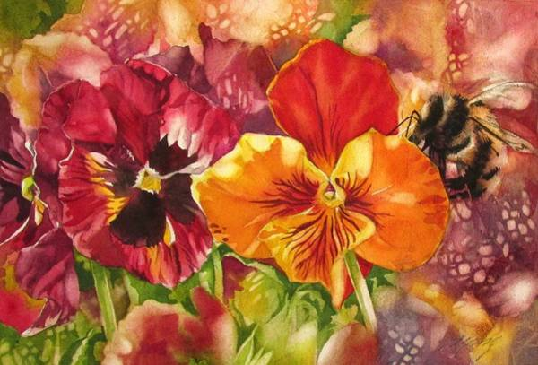 Painting - Bee With Pansies by Alfred Ng