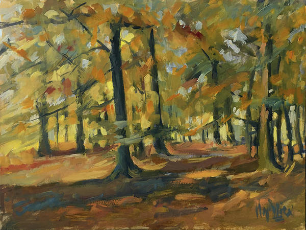 Wall Art - Painting - Beeches In Autumn by Nop Briex